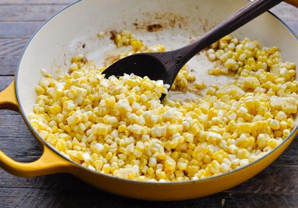 Frying corn in a skillet