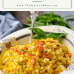 Front shot of a bowl of fried corn with a text title box at the top