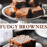 Long collage image of Fudgy Brownies