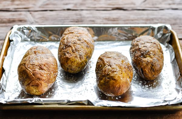 Crispy oven baked potatoes on a sheet pan