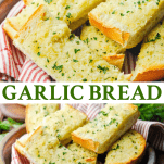 Long collage image of How to make Garlic Bread