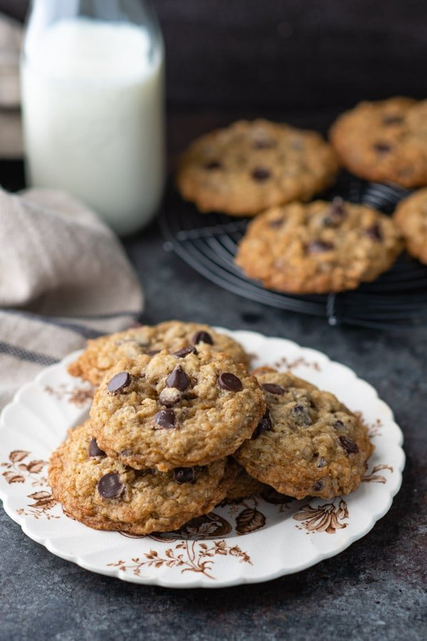 Small plate with thick and chewy oatmeal chocolate chip cookies