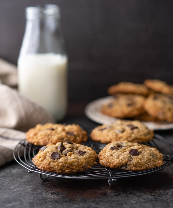 Easy oatmeal chocolate chip cookies on a cooling rack