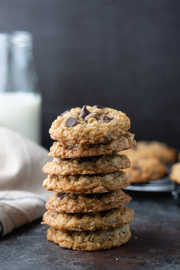 Stack of old fashioned oatmeal chocolate chip cookies