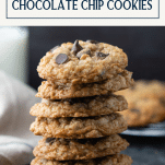 Close up stack of oatmeal chocolate chip cookie recipe with text title box at top