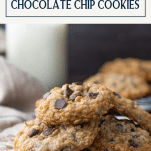 Plate of soft oatmeal chocolate chip cookies with text title box at top