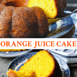 Long collage image of Orange Juice Cake