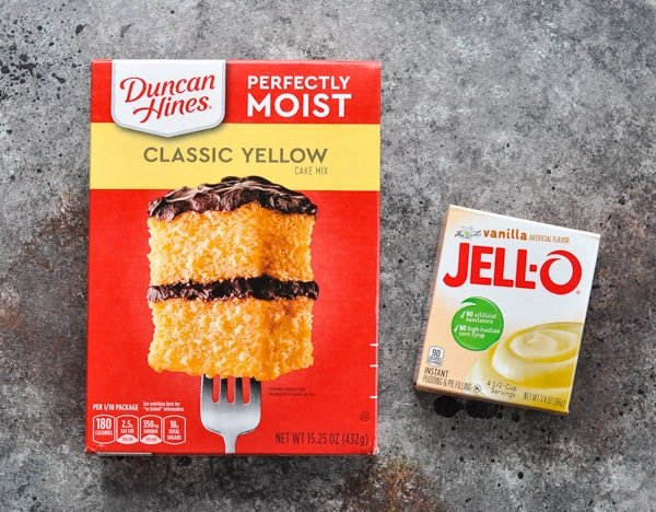 Cake mix and jello pudding for orange juice cake