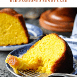 Front shot of a slice of Orange Juice Cake with a text title box at the top