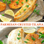 Long collage of Garlic and Parmesan Crusted Tilapia