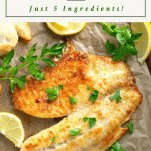 Overhead image of baked tilapia on a sheet pan with a text title box at the top