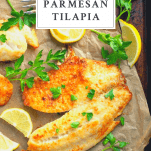 Overhead image of parmesan tilapia with a text title box at the top