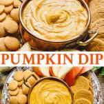 Long collage image of Pumpkin Dip