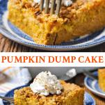 Long collage image of Pumpkin Dump Cake