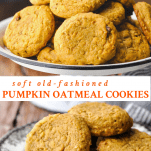 Long collage of pumpkin oatmeal cookies