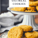 Pumpkin cookies on a plate with text title box over top