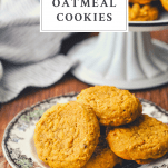 Front shot of soft pumpkin cookies on a plate with text title box at top