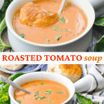 Long collage image of roasted tomato soup