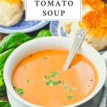 Front shot of a bowl of creamy tomato soup with a text title box a the top