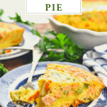 Front shot of salmon pie on a plate with a text title box at the top