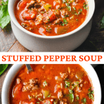 Long collage image of Stuffed Pepper Soup