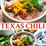 Long collage image of Texas Chili