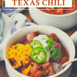 Side shot of a bowl of Texas Chili with a text title at the top