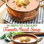 Long collage image of Easy Tomato Basil Soup