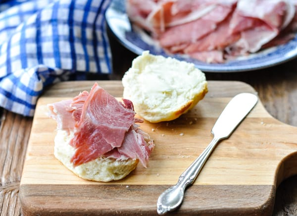 Assembling a country ham biscuit