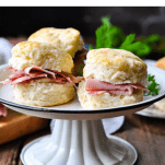Tray of country ham biscuits with text title box at the top