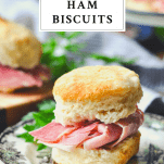 A Virginia Country Ham Biscuit on a plate with a text title at the top