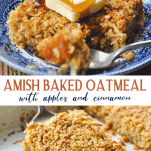 Long collage image of Amish Baked Oatmeal with Apples