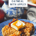 Pouring maple syrup on baked oatmeal recipe with text title box at the top