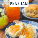 Perfect pear jam on a biscuit with a text title box at the top