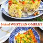 Long collage image of Baked Western Omelet