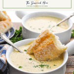 Copycat Panera Broccoli cheese soup in a bowl with a text title box at the top