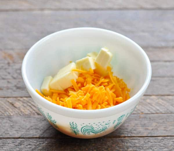 Cheese and butter in a small bowl