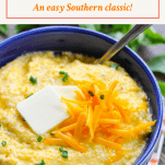 Bowl of easy cheese grits recipe with text title box at the top
