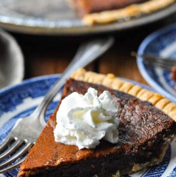 Front shot of a slice of chocolate chess pie