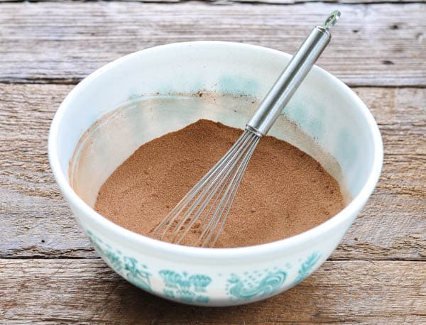 Dry ingredients for chocolate chess pie