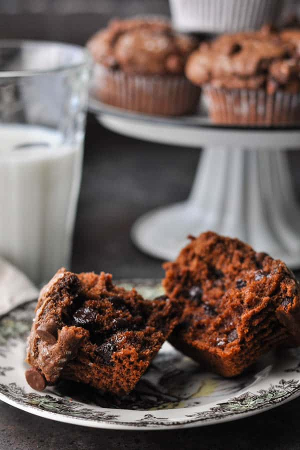 Chocolate muffin cut in half on a small plate