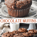 Long collage image of Chocolate Muffins