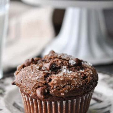 Close up side shot of a bakery style chocolate muffin on a plate