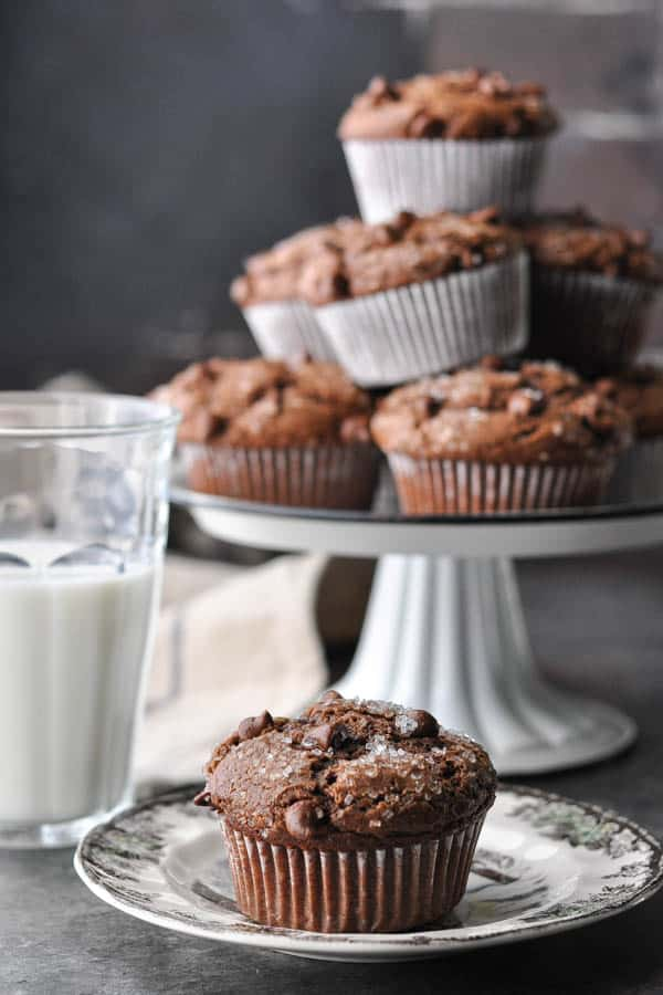 Front shot of chocolate muffins on a plate and more in the background on a cake stand
