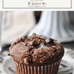 Close up side shot of an easy chocolate muffin on a plate with a text title box at the top