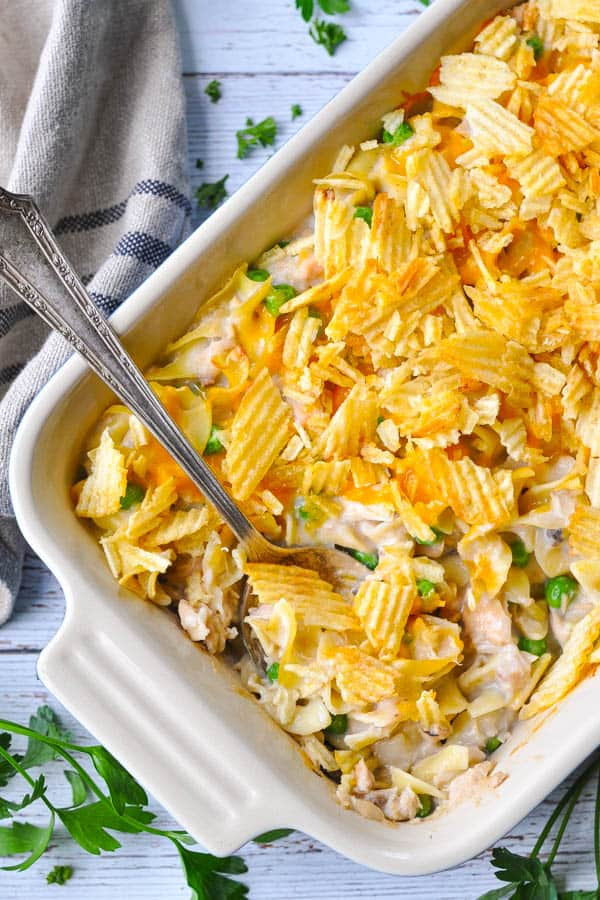 Overhead image of a casserole dish full of the best tuna noodle casserole recipe