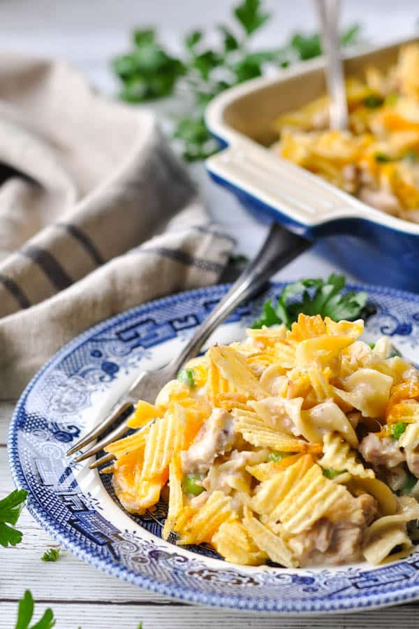 Front shot of a plate full of easy tuna noodle casserole