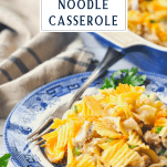 Front shot of easy tuna noodle casserole recipe on a plate with a text title box at the top