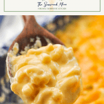 Creamy baked macaroni and cheese recipe on a wooden spoon with text title box