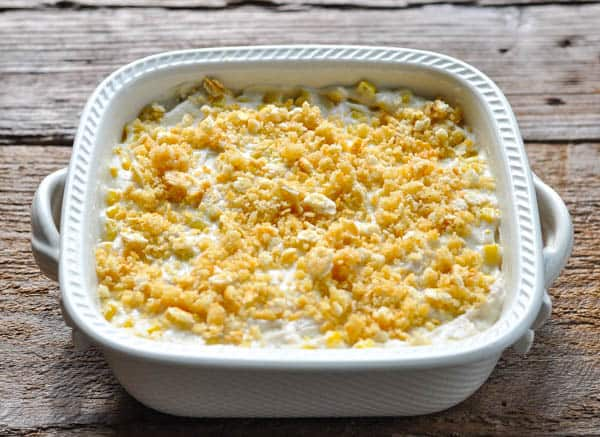 Ritz cracker crumb topping on a simple chicken casserole